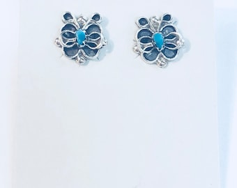 Native American Navajo Handmade Sterling Silver Turquoise Butterfly Earrings