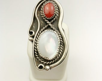 Native American Navajo Handmade Sterling Silver Coral, Mother of Pearl Ring
