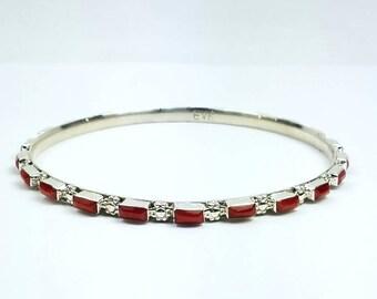 Native American Navajo handmade Sterling Silver Coral bangle bracelet