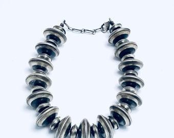 Native American Navajo Handcrafted Sterling Silver Bead Bracelet