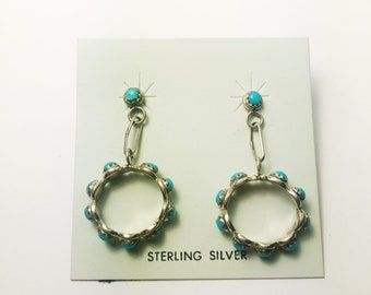 Native American Navajo Handmade Sterling Silver Easter Blue Hoop Earrings