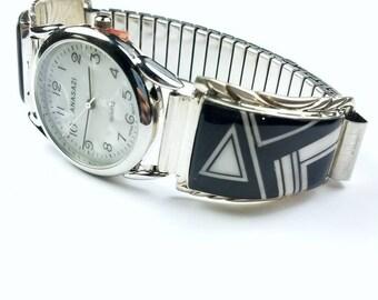 Native American Navajo handmade Sterling Silver inlay Black Onyx Howlite stone watch