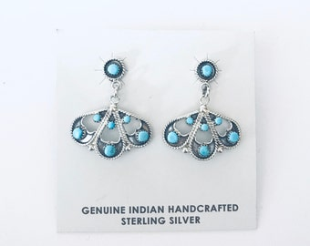 Native American Zuni handmade sterling silver and sleeping beauty turquoise dangle earrings