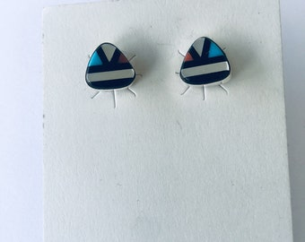 Native American Zuni handmade sterling silver and multi stone inlay stud earrings