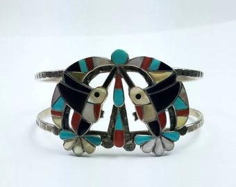 Vintage Native American Navajo handmade Sterling Silver multi-stone inlay cuff bracelet