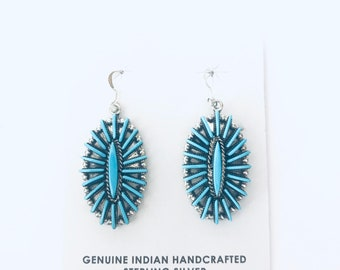 Native American Zuni needlepoint handmade sterling silver and sleeping beauty turquoise dangle earrings