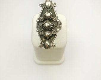 Native American Navajo Handmade Sterling Silver Antique Finish Ring