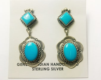 Native American Navajo Handmade Sterling Silver Blue Diamond Turquoise Earrings