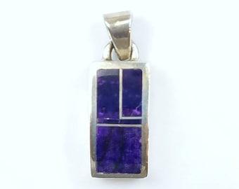 Native American Navajo handmade Sterling Silver Charoite inlay pendant