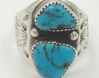 Vintage Native American Navajo Handmade Sterling Silver Kingman Turquoise Ring