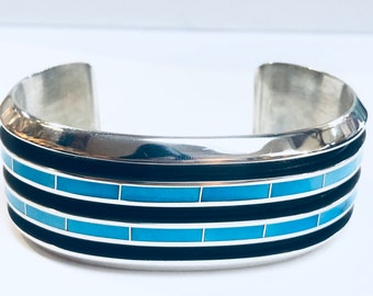 Larry Loretto Zuni Handmade Sterling Silver Turquoise inlay cuff bracelet
