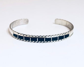 Native American Handmade Zuni Inlay Sterling Silver and Black Onyx Cuff Bracelet