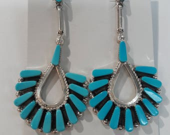 Native American Zuni handmade sterling silver and turquoise dangle drop earrings
