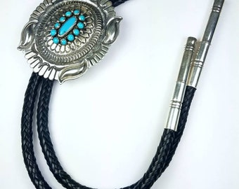 Native American Navajo handmade Sterling Silver Turquoise stone bolo tie