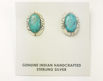 Native American Navajo Handmade Sterling Silver Valley Blue Earrings