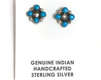 Native American Navajo Handmade Sterling Silver Turquoise Stud Earrings