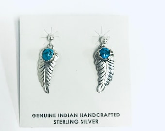 Native American Navajo handmade (feather design) sterling silver and Kingman Turquoise dangle earrings
