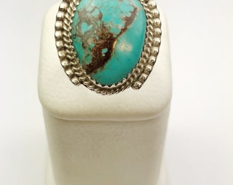 Native American Navajo Handmade Sterling Silver Nevada Turquoise Ring
