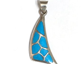 Native American Zuni Handmade Sterling Silver Turquoise Inlay Pendant