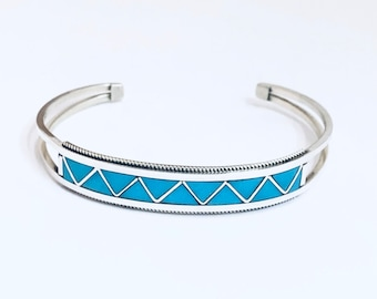 Native American Zuni Inlay Sterling Silver and Turquoise Cuff Bracelet