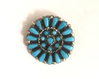 Native American Zuni Handmade Sterling Silver Sleeping Beauty Turquoise Pin/Pendant
