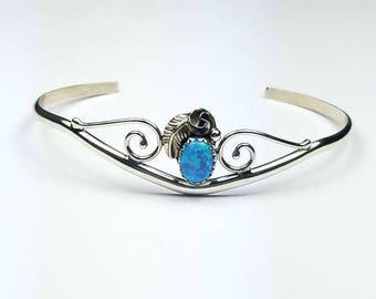 Native American Navajo handmade Sterling Silver Opal cuff bracelet