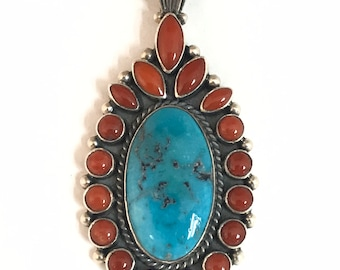 Native American Navajo Handmade Sterling Silver Turquoise Coral Pendant