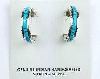 Native American Zuni handmade Sterling Silver inlay Turquoise half hoop stone earrings