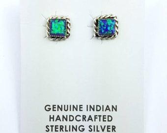 Native American Navajo handmade Sterling Silver Opal stone stud earrings