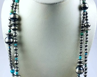 Native American Sterling Silver Navajo Pearl Turquoise necklace