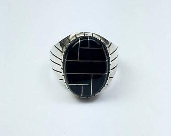 Native American Navajo handmade Sterling Silver Onyx inlay ring