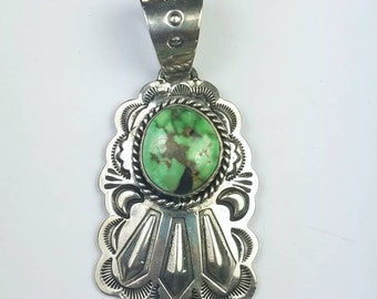 Native American Navajo handmade heavy gauge Sterling Silver Carico Lake Turquoise pendant