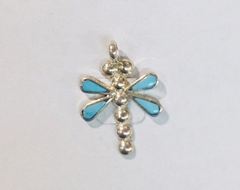Native American Zuni Inlay handmade sterling silver and Sleeping Beauty Turquoise dragon fly pendant