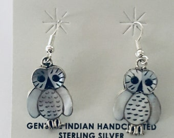 Native American Zuni Inlay handmade sterling silver owl dangle earrings set with mother of pearl shell and onyx
