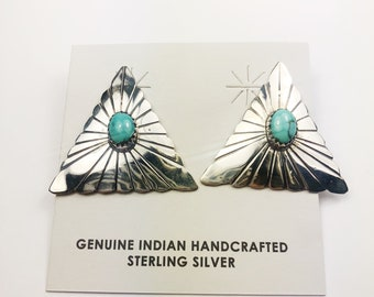Native American Navajo Handmade Sterling Silver Red Mountain Earrings