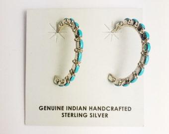 Native American Zuni Handmade Sterling Silver Sleeping Beauty Earrings