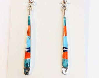 Native American Navajo handmade sterling silver multicolored inlay dangle earrings