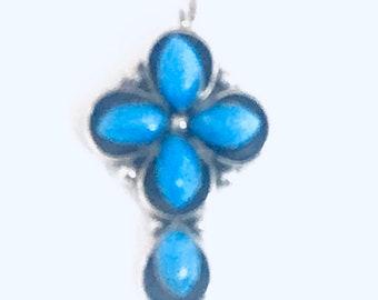 Native American Zuni Handmade Sterling Silver Turquoise Cross Pendant