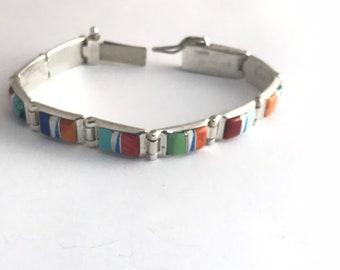 Native American Handmade Navajo  Sterling Silver Multi-Stone Inlay Link Bracelet