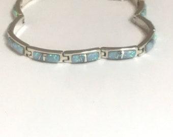 Native American Handmade Navajo Sterling Silver Opal Inlay Bracelet