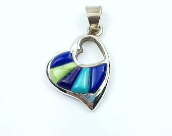 Native American Navajo handmade Sterling Silver multi-stone cobblestone pendant