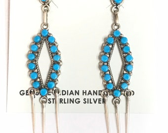 Native American Zuni Handmade Sterling Silver Turquoise Dangle Earrings