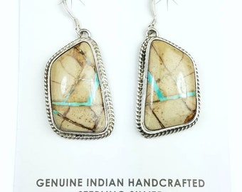 Native American Navajo handmade Sterling Silver Boulder Turquoise stone dangle drop earrings