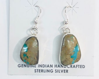 Native American Navajo Handmade Sterling Silver BOulder Turquoise Earrings