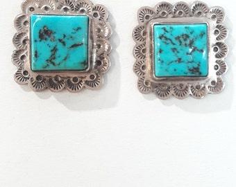 Vintage Native American Navajo Handmade Sterling Silver Turquoise Earrings