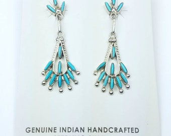 Native American Zuni handmade Sterling Silver Turquoise stone needle point stud earrings