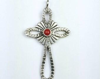 Native American Navajo handmade Sterling Silver Coral cross pendant