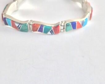 Native American Handmade Navajo Sterling Silver Multi- Stone Inlay Link Bracelet