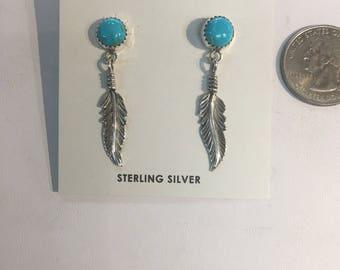 Native American handmade sterling silver drop earings wirh genuine kingman turquoise