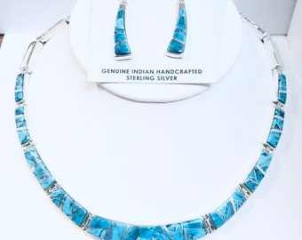 Stunning Native American Navajo handmade sterling silver turquoise inlay necklace set